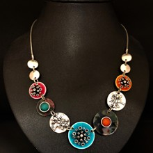 Colour Discs & Pohutukawa Necklace