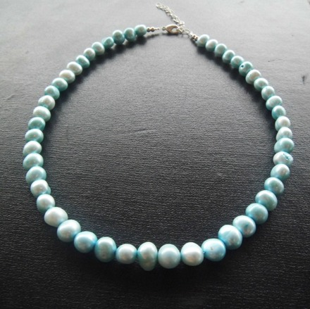 Feshwater Pearl Necklace - Dyed Baby Blue