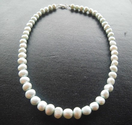 Freshwater Pearl Necklace - Dyed Ice Blue