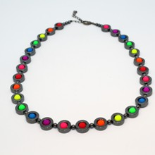 Hematite Ring Necklace - Neon Rainbow