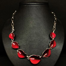 Red Lillies Rhodium Necklace