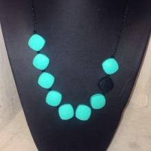 Teething Necklace Turquoise/Black