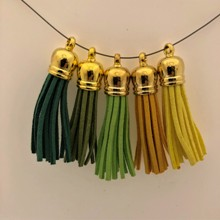 Suede Tassels - Green/Yellow Tones