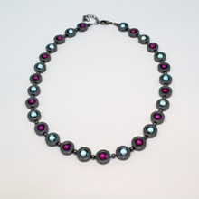 Hematite Ring Necklace -Purple/seafoam