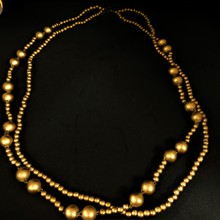 Wooden Metallic Double Strand Necklace - Gold