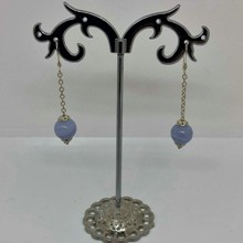 Chain earrings - blue  lace agate