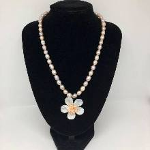 Fresh Water Pearl Necklace with MOP Flower