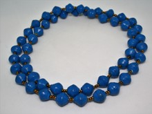 Paper Bead Necklace - Blue