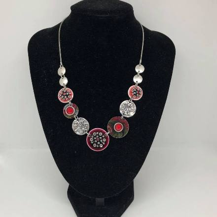 Discs - Red  & Pohutukawa Necklace