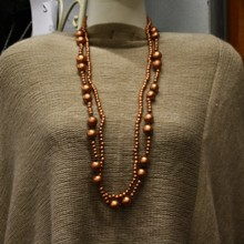 Wooden Metallic Double Strand Necklace - Rose Gold